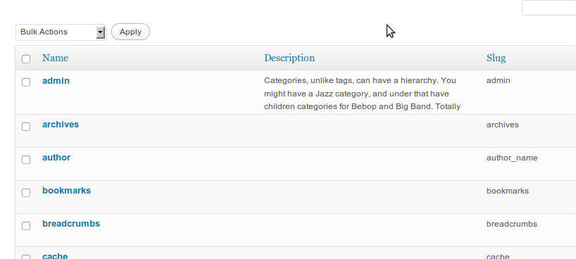 truncate description within categories admin panel