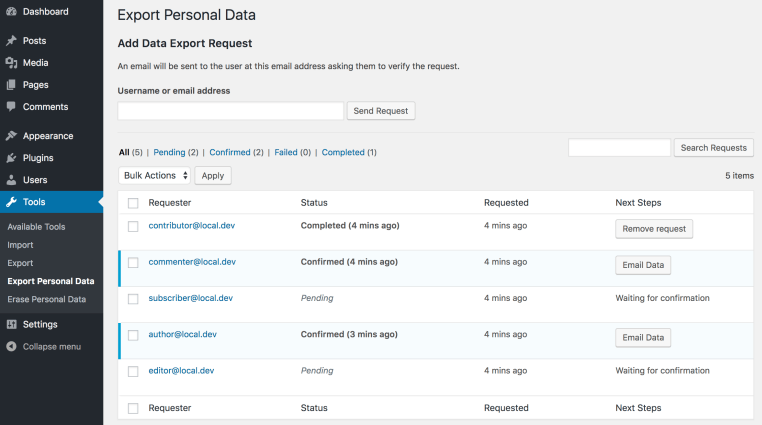 export personal data