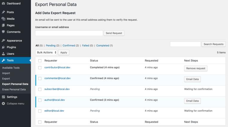 export personal data