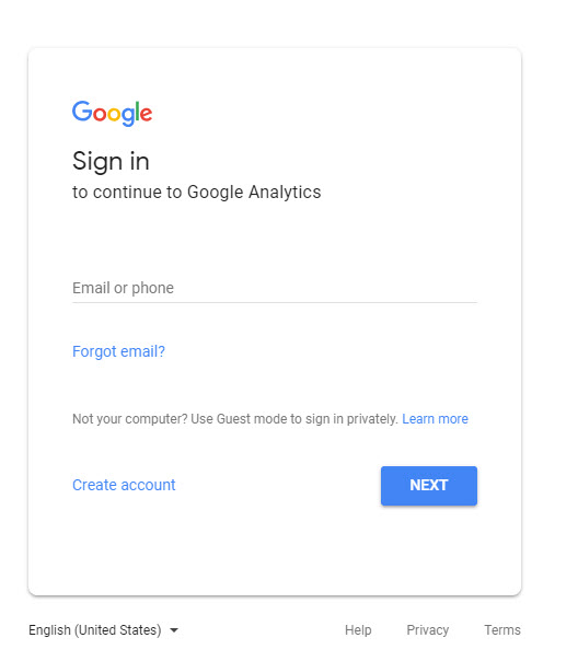 sign into analytics