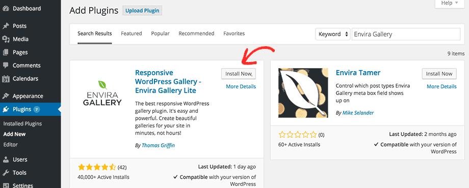 Installing plugin using search feature in WordPress admin area