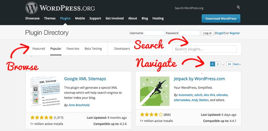 Using WordPress.org plugins page to locate plugins