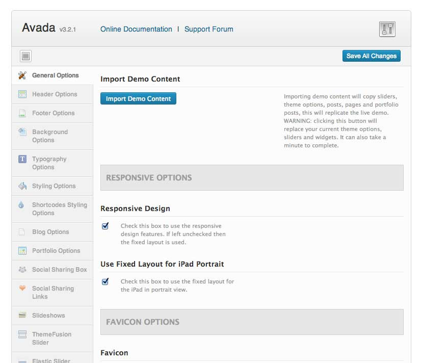 Advanced admin panel for Avada