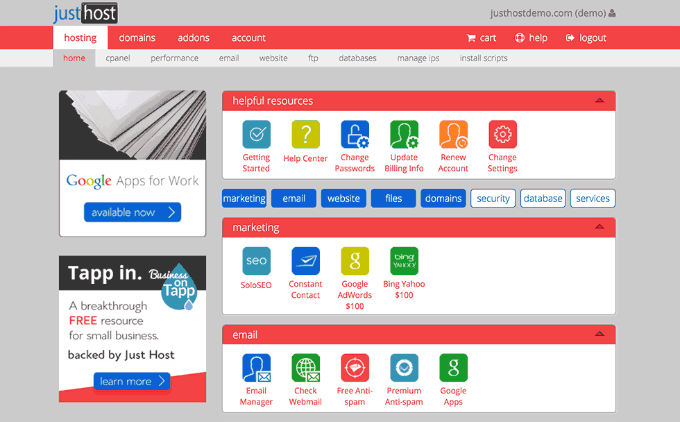 JustHost CPanel Dashboard