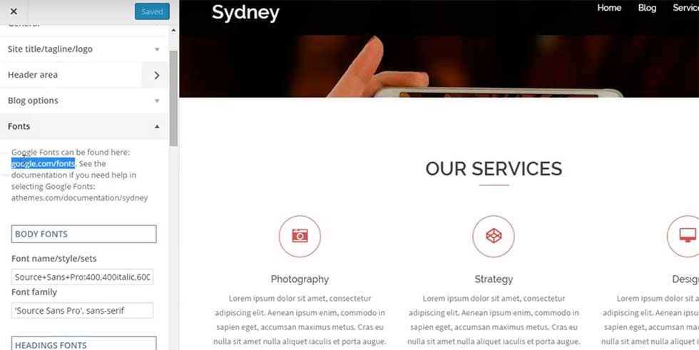 Using Google Fonts in Sydney