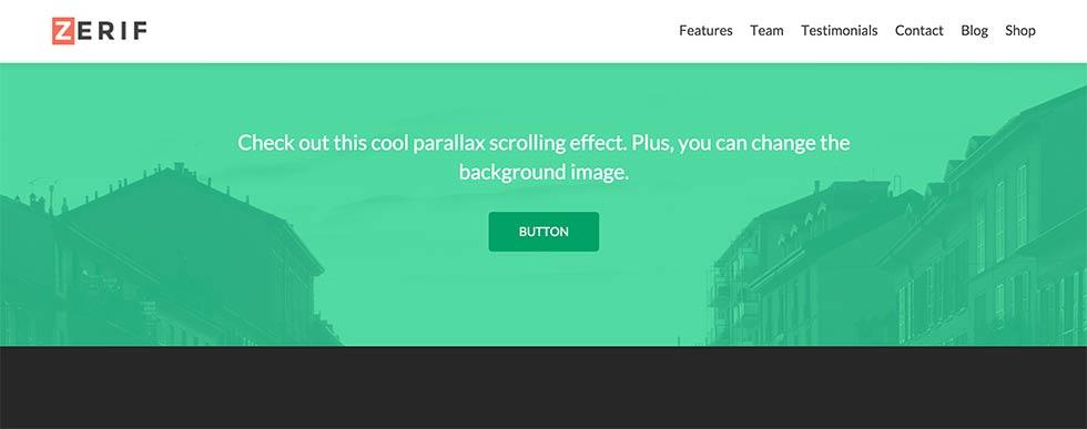 Zerif parallax effect
