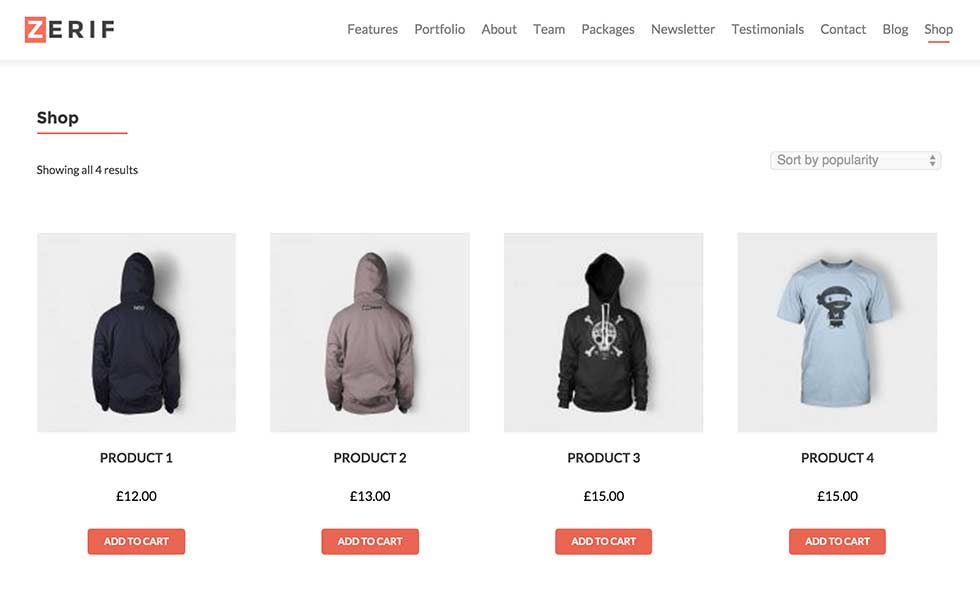 Zerif Pro with WooCommerce support