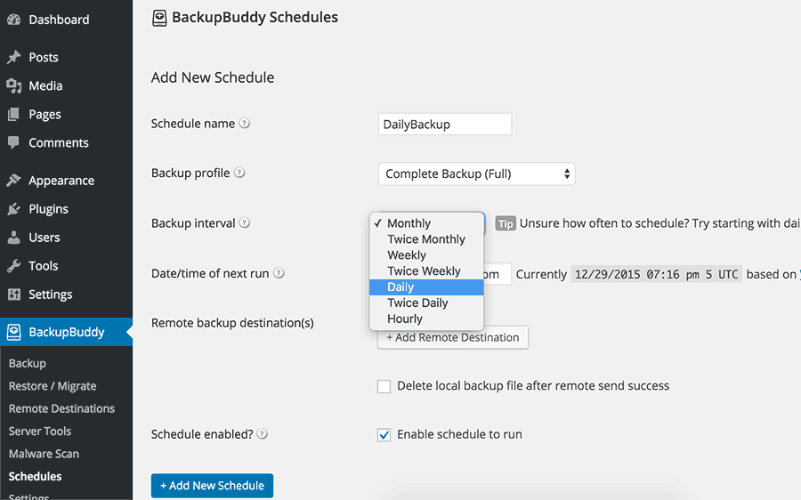BackupBuddy schedules