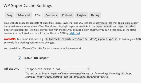 CDN support in WP Super Cache