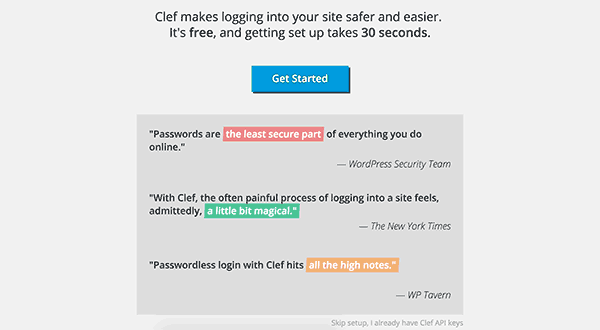 Cleft setup wizard in WordPress