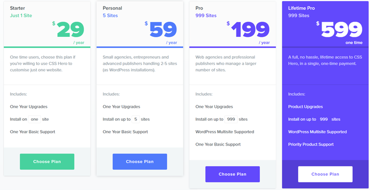 css hero pricing