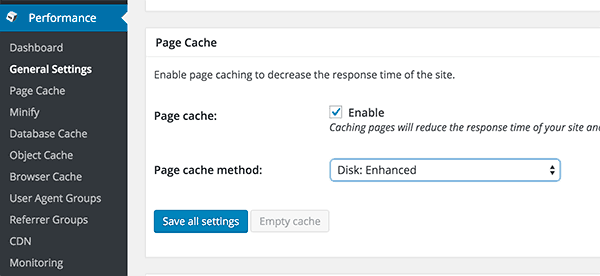 Enable page caching in W3 Total Cache