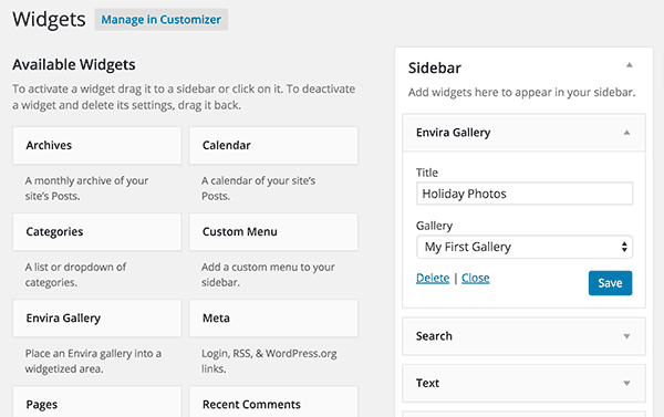 Adding a gallery in WordPress sidebar with Envira Gallery