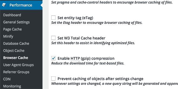 enable gzip compression with W3 Total Cache