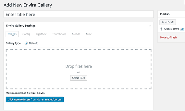 Creating a new image gallery in WordPress using Envira Gallery