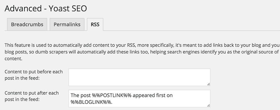 Optimize RSS feeds with Yoast SEO