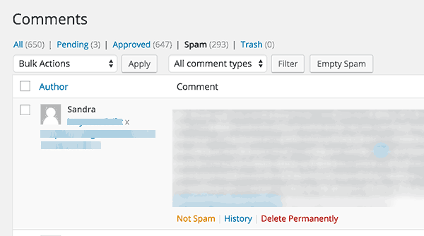 Comments marked spam by Akismet
