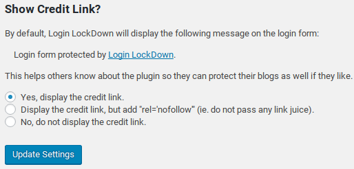 Login LockDown Review - Credit Link Settings