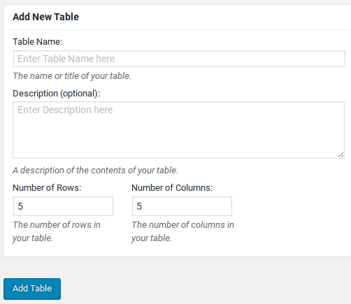 TablePress Review - Add new table