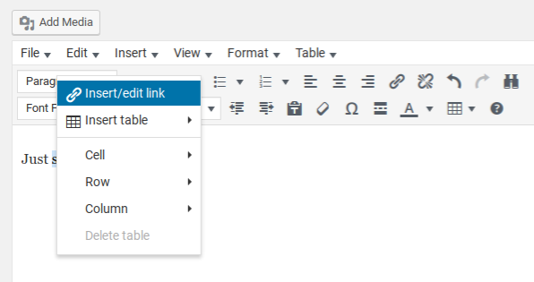 TinyMCE Advanced Review - context menu