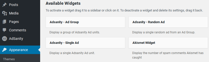 AdSanity review - widgets