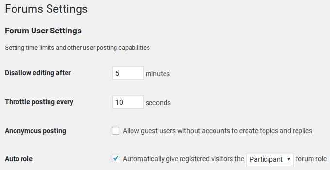 bbPress Review - settings