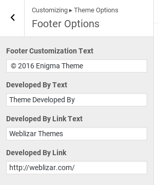 Enigma Review - footer options