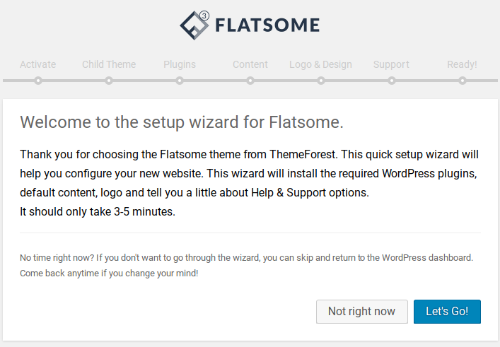 Flatsome Review - setup wizard