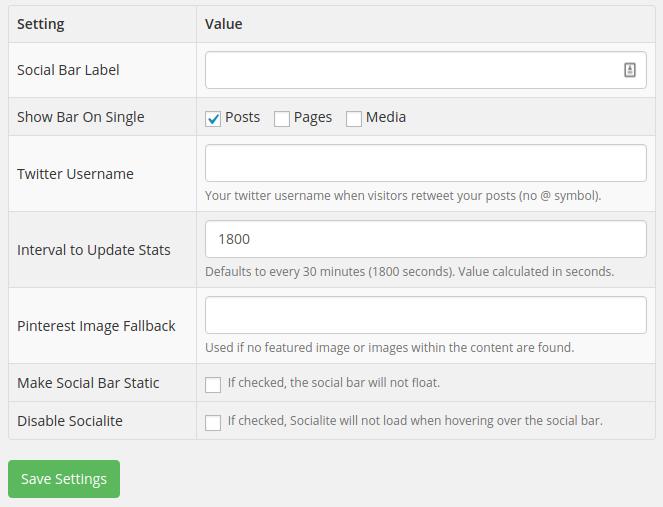 Floating Social Bar Review - settings
