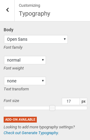 GeneratePress Review - font options