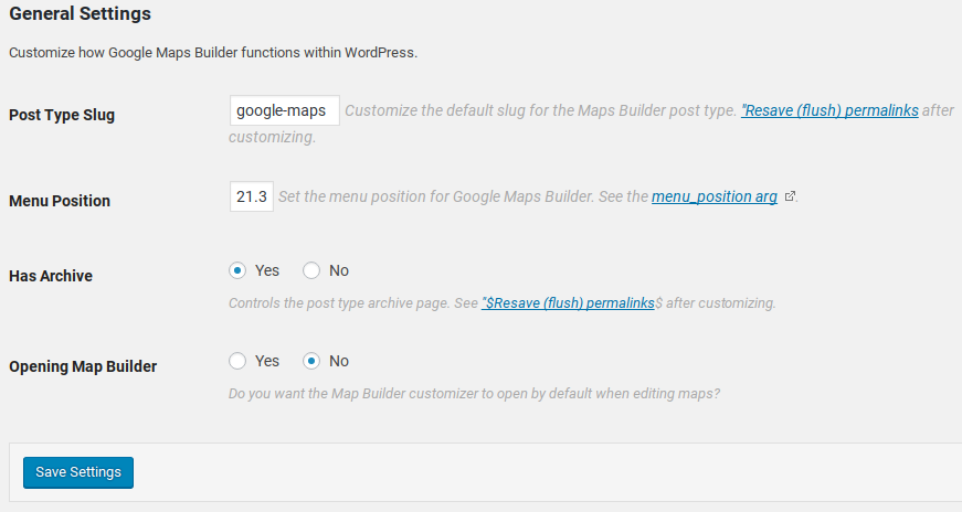 Google Maps Builder Review - settings
