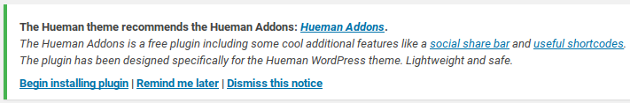 Hueman Review - addons plugin