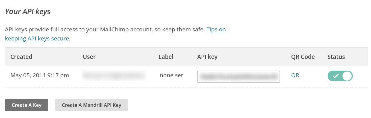 MailChimp for WordPress review - api key
