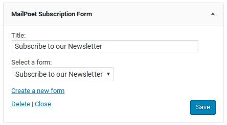 MailPoet Newsletters Review - widget