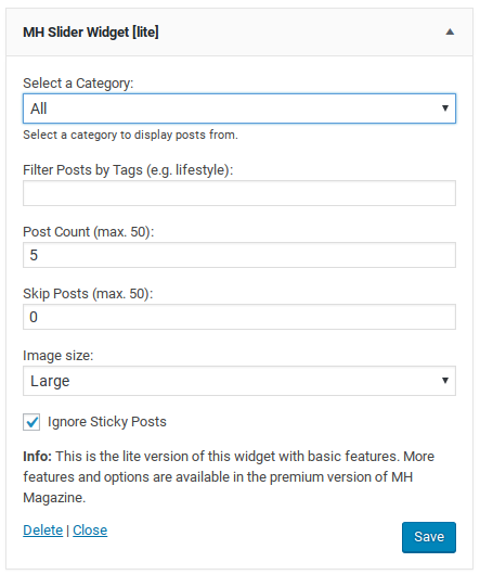 MH Magazine Lite review - slider options