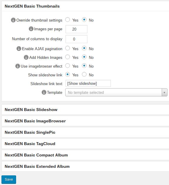 NextGEN Gallery review - settings