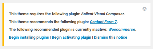 Salient review - required plugins