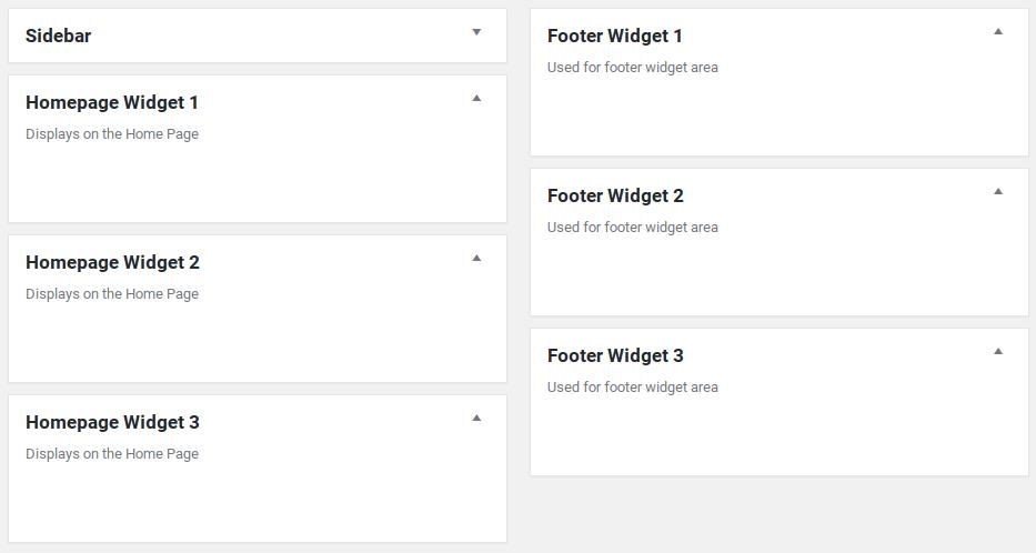 Sparkling Review - widget areas