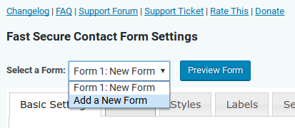 Fast Secure Contact Form review - add new form