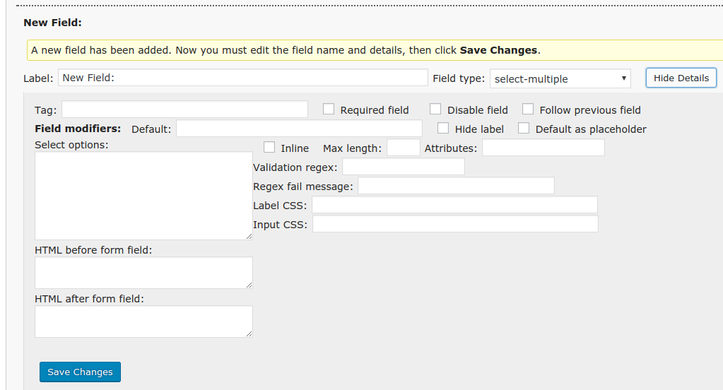 FS Contact Form - new field options