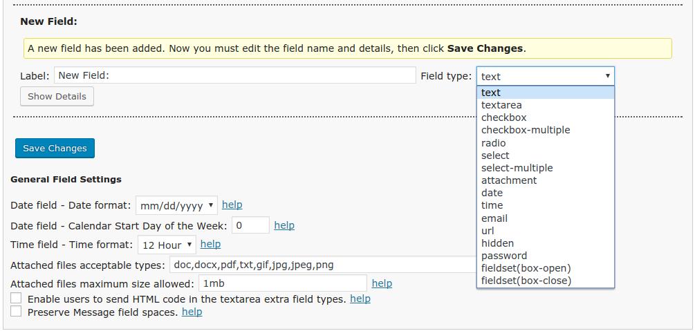 FS Contact Form - add new form field