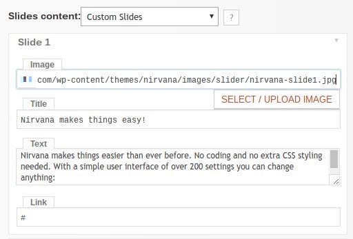 Nirvana custom slides for homepage