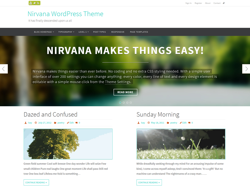Nirvana Review - Free WordPress Theme