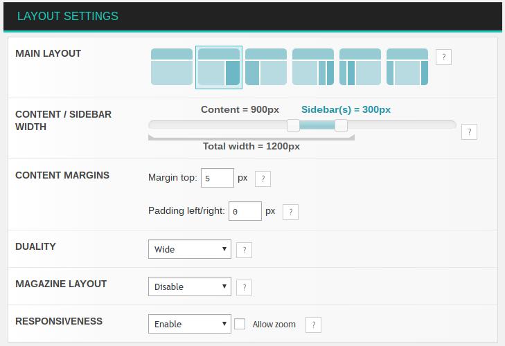 Nirvana page layout settings