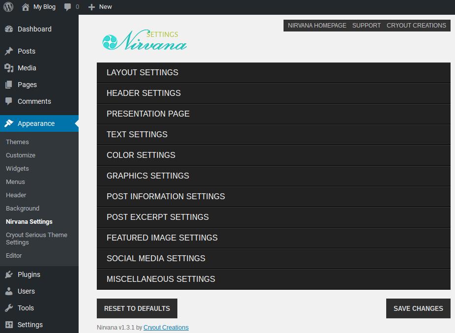 Nirvana theme settings menu