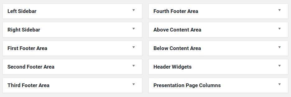 Nirvana has 10 widget areas