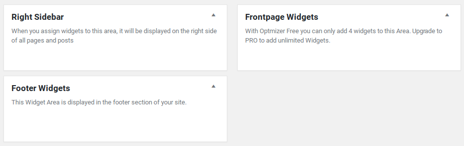 Optimizer Review - widget areas