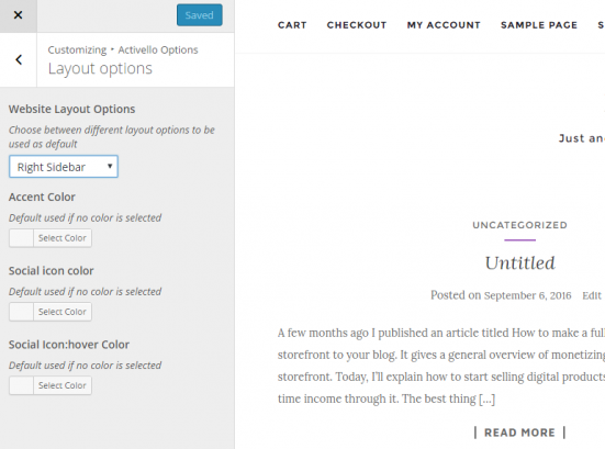 Activello edit footer options