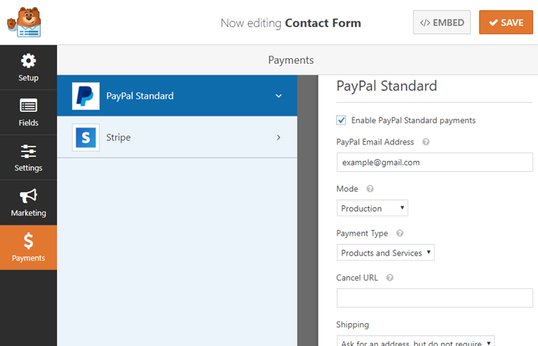 payments tab wpforms
