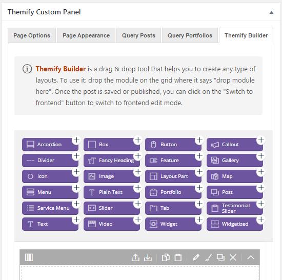 themify ultra custom panel